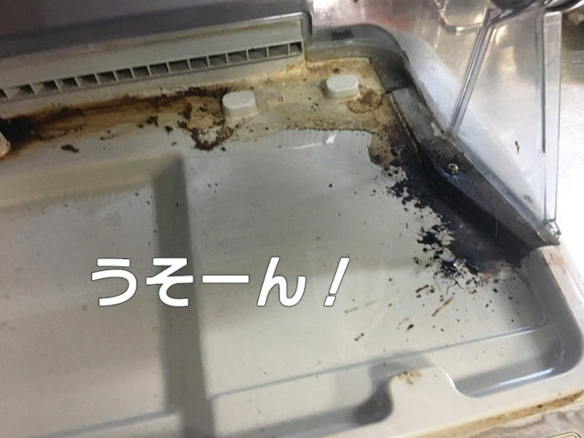 食器乾燥機をそうじしてたらエグいの出てきた!!【水垢どころじゃないよ】の板を外した底から出てきた汚いシミの写真